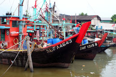 Stock image of Colorful chinese fishing boat resting at a Chinese Fishing Village, Sekinchan, Malaysia Stock Images