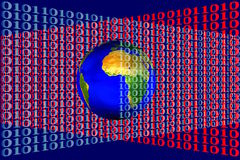 Stock Image of Earth in Binary Code. 3D illustration of Earth and colored binary code net vector illustration