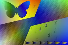 Stock Image of Information and Technology Concept. Abstract illustration with binary code butterfly , dollar and information sign as IT concept stock illustration
