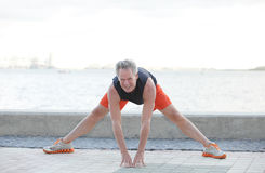 Stock image of a man stretching Royalty Free Stock Photography