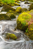 Stock image of a running river through moss covered rocks in Pad Stock Photo