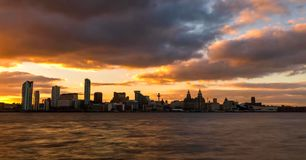 Stock image of the skyline of Liverpool, UK stock images