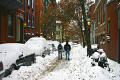 Stock image of a snowing winter at Boston, Massachusetts, USA. Stock Photos