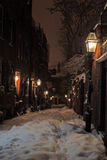 Stock image of a snowing winter at Boston, Massachusetts, USA Royalty Free Stock Images