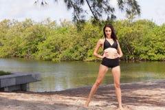 Stock image woman in a black bikini Stock Photos