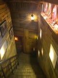 Wooden staircase interior design stock photography