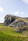 Stock Image - Yorkshire Landscape. Picture of North Yorkshire Landscape with Large Rock Face in forefront taken in Summer stock image