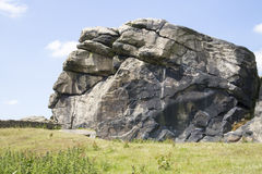Stock Image - Yorkshire Landscape. Picture of North Yorkshire Landscape with Large Rock Face in forefront taken in Summer royalty free stock photography