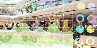 Stock index analysis of investment on shopping in department sto. Re shown chart and graph for business background Stock Photography