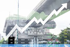 Stock index data of construction business and transportation ind. Ustrial sector growth rate background Stock Photos
