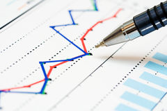 Stock index dynamics. Ballpoint pen and stock market graphs Royalty Free Stock Images