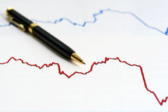 Financial graphs analysis  Royalty Free Stock Photos