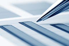 Financial graphs analysis Stock Image