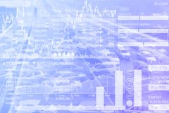 Stock Index graph of transportation investment on Blue Gradient. Background Stock Photos