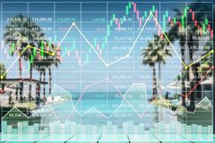 Stock index growth shown by graph and chart in resort. Royalty Free Stock Photography