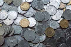 Stock 1, 10, 5 Indian rupee metal coin isolated background. royalty free stock photos