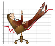Stock infographics. Businessman put his feet on the growing schedule Royalty Free Stock Images