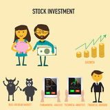 Stock investment infographics with growth of money , bull or bea. R market,financial advisor ,technical or fundamental analysis vector. illustration EPS10 Royalty Free Stock Image