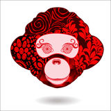 Stock  isolated monkey head. patchwork design. the symbol Stock Image