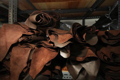 Stock of Leather selection for garment Stock Image