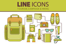 Stock  line icons set. Hiking, travel and vacation. Royalty Free Stock Images