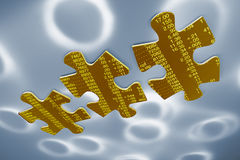Stock Listing Jigsaw Puzzle Pieces. On Blue Background Stock Image