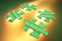 Stock Listing Jigsaw Puzzle Pieces. On Warm Background Stock Photography