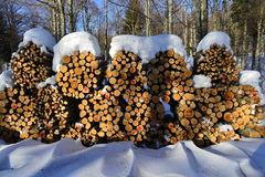 Stock of log. A big stock of log covered with snow ready to be used during the winter time Stock Photography