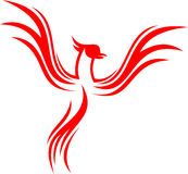 Stock logo flaming line phoenix bird flying. Can use for various business Royalty Free Stock Image