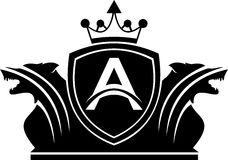 Stock logo letter A with twin wolf king protection. Can use for various business Stock Photography