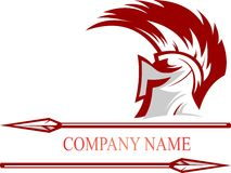 Stock logo spartan helmet with lance Royalty Free Stock Photo