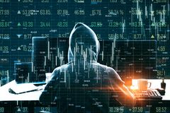 Stock and malware concept. Hacker using laptop computer with abstract forex chart hologram on blurry background. Double exposure royalty free stock image