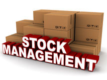 Stock management. Words next to boxes of stock inventory on white background vector illustration