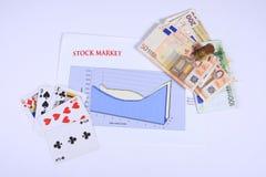 Stock market. Composition representing stock market as gambling with bank euro notes Royalty Free Stock Photos