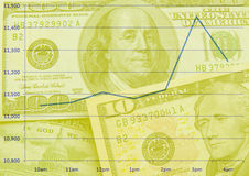 Stock market. Scene with U.S. dollars Royalty Free Stock Image