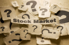 Stock Market. Picture of a stock market on paper with question marks Stock Photo