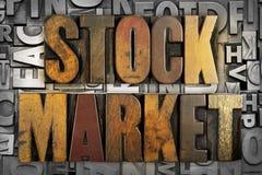 Stock Market. The words STOCK MARKET written in vintage letterpress type Stock Photo