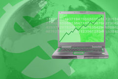 Stock market. Computer showing rising stock in world business in green Royalty Free Stock Image