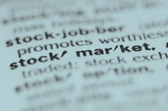 Stock Market. Extreme macro or close up of the word STOCK MARKET. Very shallow depth of field is intentional and shows only the word stock market in focus Royalty Free Stock Photography