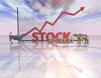 Stock market abstract illustration with sky, bull and bear Stock Photos