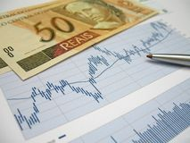 Stock market analysis. Stock market charts for investor analysis, with Brazilian Real $50 bills and pen, using selective focus on center of graph royalty free stock photo