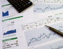 Stock market analysis. Stock market charts for investor analysis. Click here for all images in this series royalty free stock photography