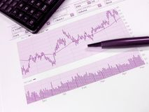 Stock market analysis. Stock market chart for investor analysis, with copy space Royalty Free Stock Images