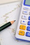 Stock market analysis and calculation Royalty Free Stock Photos