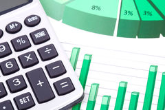 Stock Market Analysis, calculator and diagrams Royalty Free Stock Images