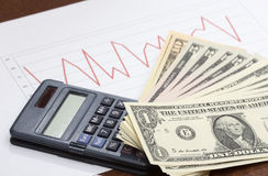 Stock market analysis with cash Royalty Free Stock Image