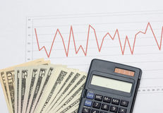 Stock market analysis with cash Royalty Free Stock Images