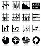 Stock market analysis, chart and graph icons set Stock Photography