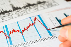 Stock market, analysis of the market data and write Royalty Free Stock Photography