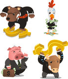 Stock market animals with money golden dollar sign characters 2 Stock Photography
